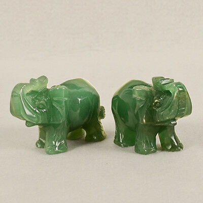 Chic Mini Quartz Carved Elephant Gemstone Crystal Figurine Decor Green Jian