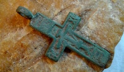 "RARE 16-18th CENTURY RUSSIAN NORTH ""OLD BELIEVERS"" ORTHODOX CROSS PENDANT"