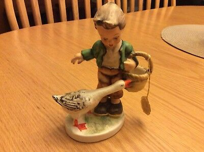 "Friedel 6"" Figurine, Boy And Goose, Bavaria, West Germany, Hand Painted"