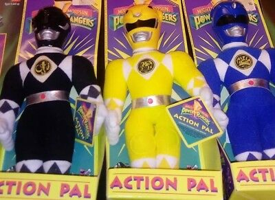 NEW🌟MINT!🌟1993 Mighty Morphin Power Rangers Lot*Plush Dolls*BLUE*BLACK*YELLOW*