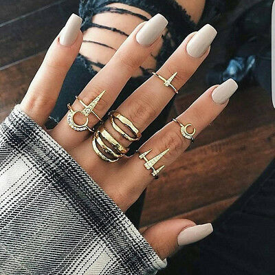 Women Vintage Style Joint Ring Retro Bohemian Hollow Carved Flower Ring