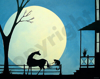 Horse cat funny farm tree moon art Criswell ACEO Giclee print of painting gift