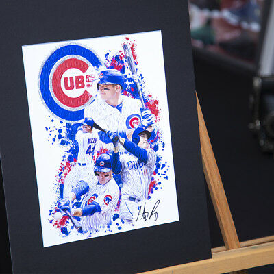 Anthony Rizzo #44 - Unique Artwork - Chicago Cubs- 3D Effect - Handmade