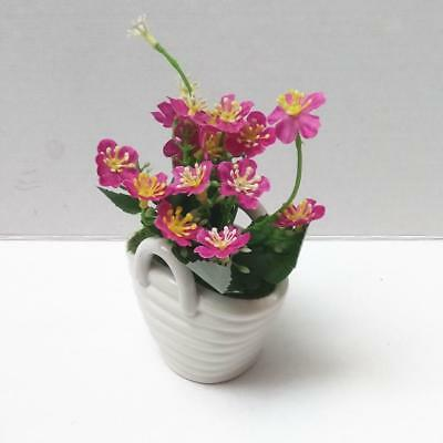 Potted Artificial Bonsai Plant Fake Flowers Ceramic Pot Home Decoration Pink