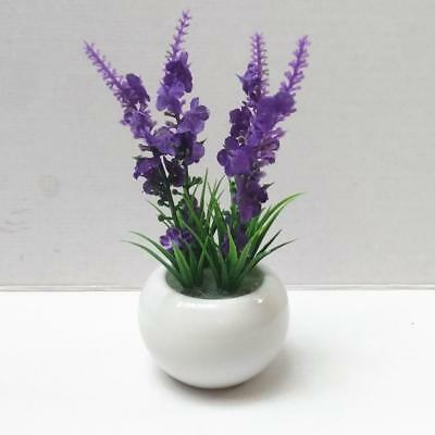 Potted Artificial Bonsai Plant Fake Flower Ceramic Pot Home Ornaments Purple