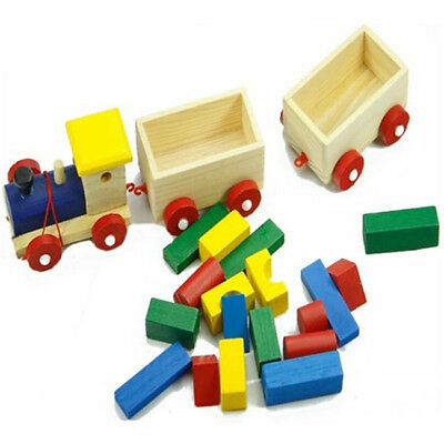 Wooden Carriage Small Train Toys Children's Early Splicing Blocks Toys Gift Jian