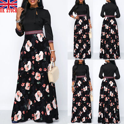 UK Women Long Sleeve Floral Boho Long Maxi Dress Ladies Casual Dress Size 8-22