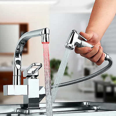 360° Swivel Pull Out Hand Spray Kitchen Sink LED Mixer Faucet Chrome Taps