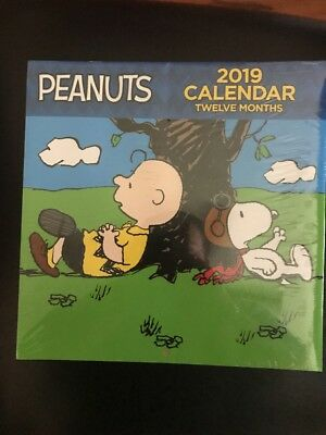 2019 Wall Calendar 12 Month Peanuts Characters Charlie Brown Back to School New
