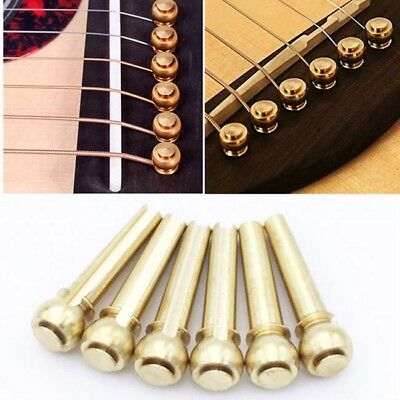 6pcs Guitar String Bridge Pins Copper Brass Endpin Replacement Parts Accessories