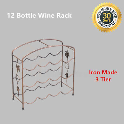 12 Bottle Wine Rack Holder Iron Wrought Storage Organise Display Shelf Bar 3tier