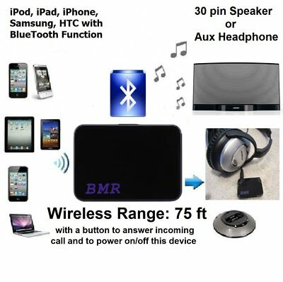30 Pin Bluetooth Music Receiver Adapter Speakers with 30 Pin Dock and Aux Input