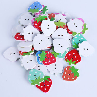 Mix Color Strawberry Wooden Sewing Buttons Handmade Scrapbooking Decor Jian