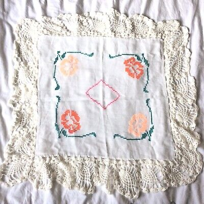 Crochet DOILY Cross Stitch FLOWERS Pink Green Small Tablecloth Ethnic Vintage