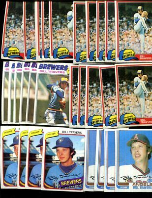 Bill Travers Bulk Lot Of 30  Baseball Cards  Brewers Norwood Massachusetts