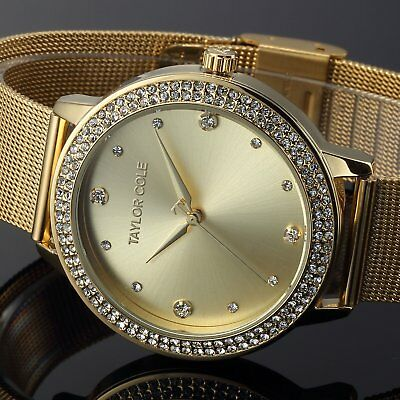 Taylor Cole Fashion Women's Crystal Stainless Steel Analog Quartz Wrist Watch