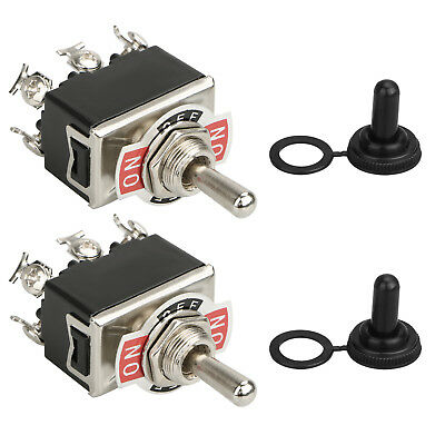 2pcs Waterproof 6Pin Heavy Duty Boot Cap DPDT Momentary Toggle Switch ON/OFF Amp