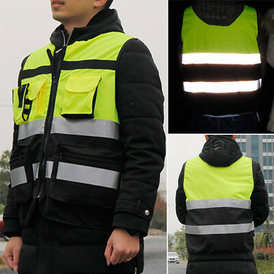 Hot Safety Vest Reflective Visibility Pockets Construction Traffic Cycling Wear