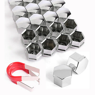 40x 19mm Hex Chrome Alloy Wheel Nut Bolt Covers Caps with 2 Removal Key For Ford