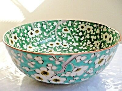 BEAUTIFUL ANTIQUE 18-19c H/PAINTED GREEN ON WHITE CHINESE PORCELAIN BOWL SIGNED