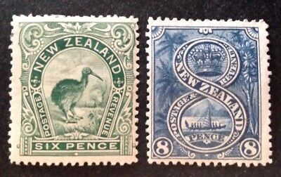 New Zealand 1898/9 6d Green & 8d Indigo Stamps Mint Hinged