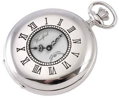 Woodford Chrome Plated Half Hunter Swiss Pocket Watch - Silver