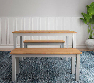 Pine Solid Wood Dining Table with 2 Benches Kitchen Dining Table Set
