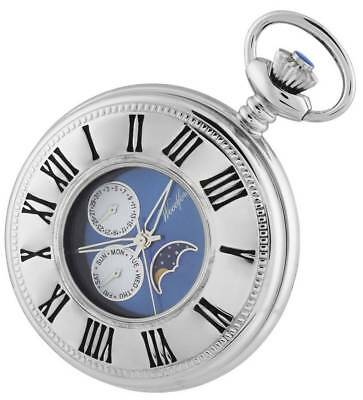 Woodford Chrome Plated Quartz Moon Dial Pocket Watch - Silver