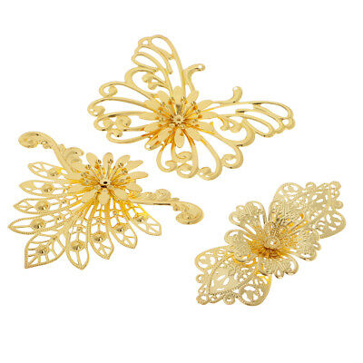 3pcs Filigree Butterfly Peacock Charms Pendant for DIY Hairpin Hair Stick