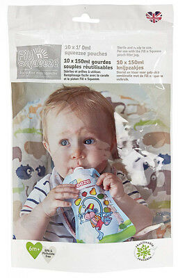 Fill n Squeeze Refill Pack of Reusable Pouches For Babies and Toddlers, 10 x...