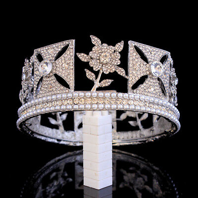 """6cm High Flower Crystal Round Crown Wedding Party Pageant Prom 5.5"""" Diameter"""