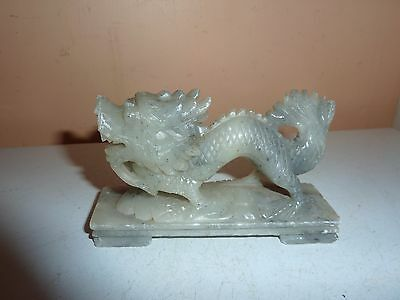Vintage Chinese 10.5Cm Long Hand Carved Soapstone 4 Toed Dragon On A Plinth Base