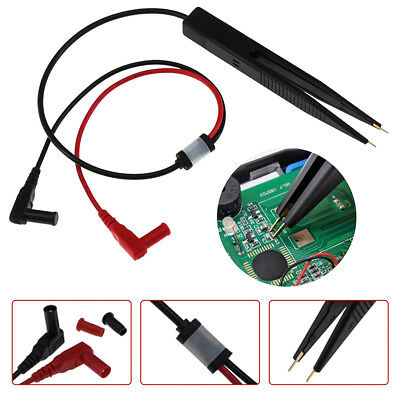 SMT SMD Chip Resistance Test Clip Lead Probe Multimeter Meter Tweezer Capacitor
