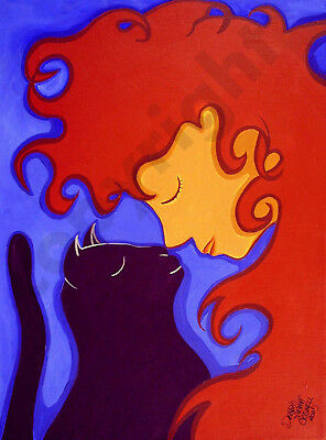 Girl cat red head hair woman art Criswell ACEO Giclee print of painting gift