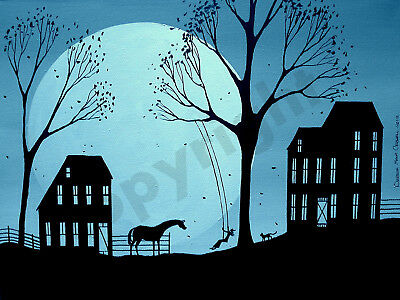 Swing girl horse black cat moon Folk Art Criswell ACEO Giclee print of painting