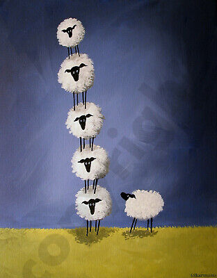 Sheep funny tower sheepisa pisa Folk Art Criswell ACEO Giclee print of painting