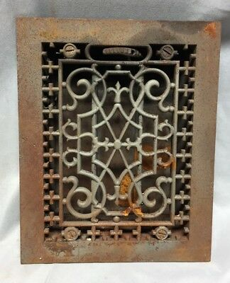 One Antique Cast Iron Decorative Heat Grate Floor Register 6X8 Vintage 763-18C