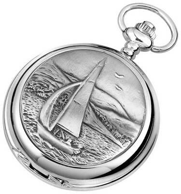 Woodford Sailing Chrome Plated Full Hunter Quartz Pocket Watch - Silver