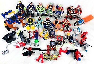 30 Lot Fisher Price Rescue Heroes 12 Figures 14 Accessories Tools 3 Pets 1 Robot