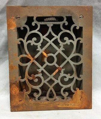 One Antique Cast Iron Decorative Heat Grate Floor Register 6X8 Vintage 2-19C