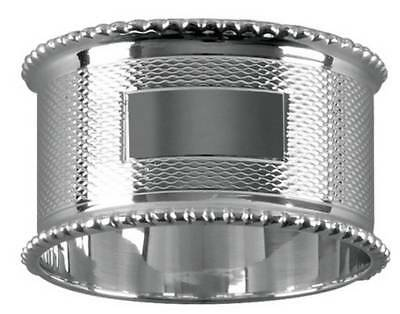Orton West Bead Edge Engraved Napkin Ring - Silver