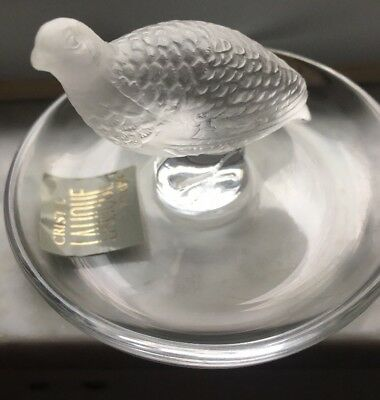 LALIQUE Frosted Crystal Art Glass Pheasant Ring Trinket Dish Signed With Tags