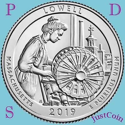 2019 Pds Lowell National Park (Ma) Three Uncirculated Quarters Set