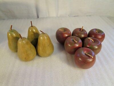 Lot of 10 Vintage Wooden Pears & Apples, Leather Stems, Painted
