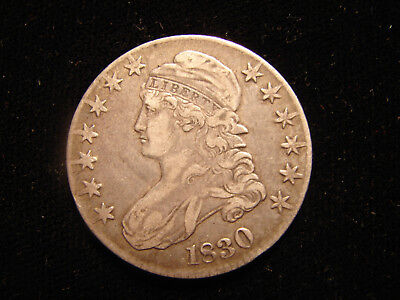 1830 CAPPED BUST SILVER HALF DOLLAR, large O as pictured.