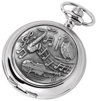 Woodford Musical Chrome Plated Full Hunter Quartz Pocket Watch - Silver