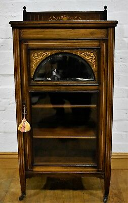 Antique Rosewood Victorian inlaid mahogany curio display cabinet / music cabinet