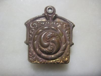 1 Vintage French Stamped Brass Ornate Pendant Drop, Hollow Faux Locket, Patina