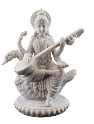 "8.5"" Saraswati on Swan Hindu Goddess of Knowledge Statue Sculpture Sarasvati"
