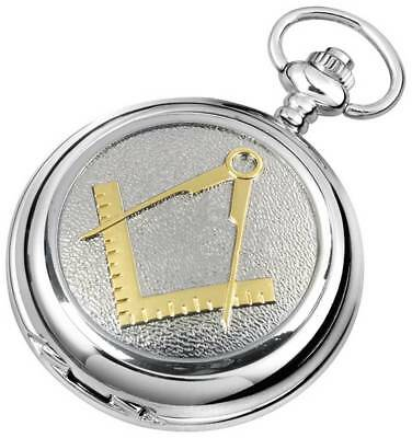 Woodford Masonic Chrome Plated Full Hunter Quartz Pocket Watch - Silver/Gold